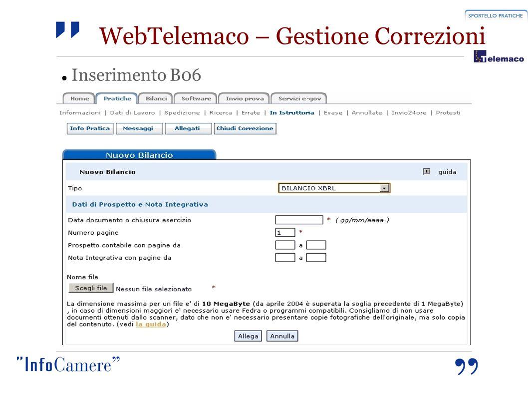 WebTelemaco – Gestione Correzioni Inserimento B06