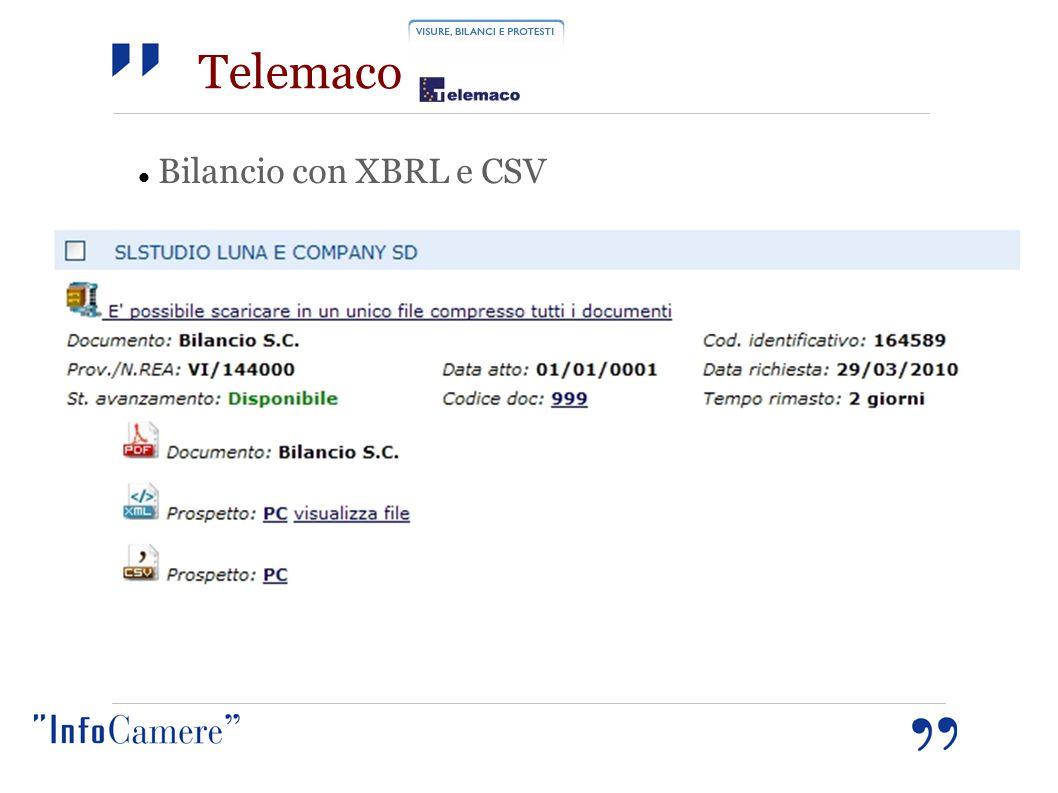 Telemaco Bilancio con XBRL e CSV