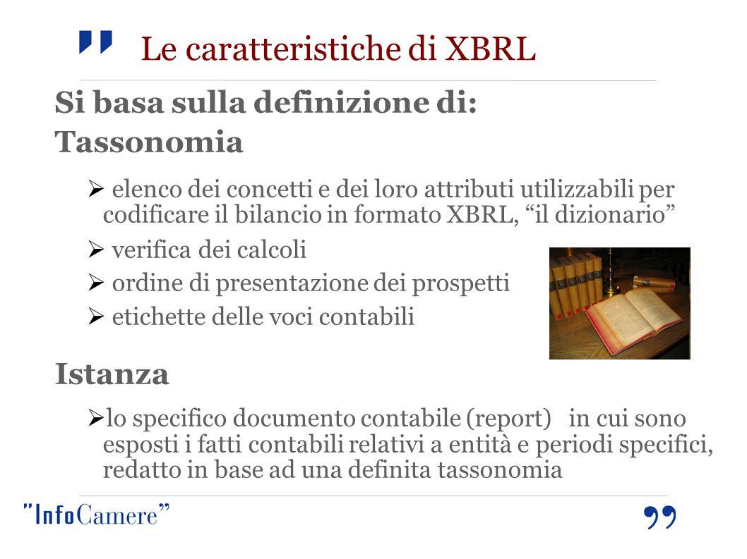 Le caratteristiche di XBRL Si basa sulla definizione di: Tassonomia  elenco dei concetti e dei loro attributi utilizzabili per codificare il bilancio