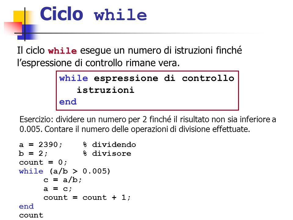 Ciclo while while espressione di controllo istruzioni end while Il ciclo while esegue un numero di istruzioni finché l'espressione di controllo rimane vera.