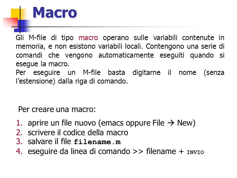 Macro Gli M-file di tipo macro operano sulle variabili contenute in memoria, e non esistono variabili locali.