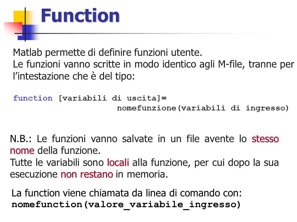 Function Matlab permette di definire funzioni utente.