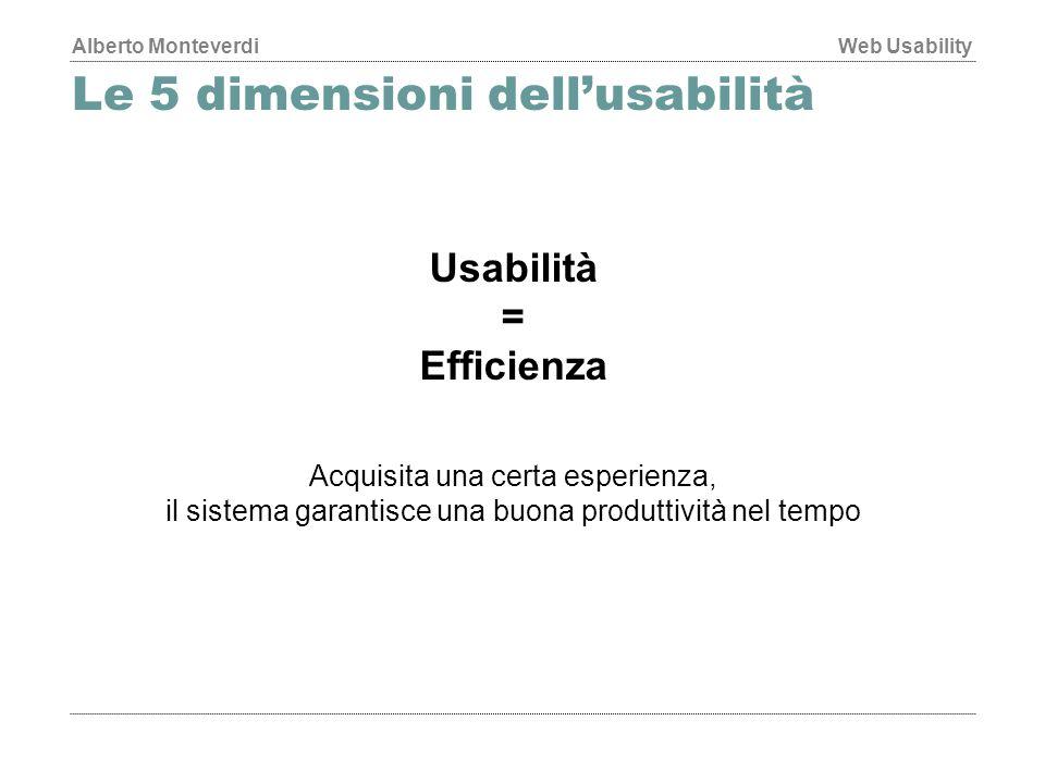 Alberto MonteverdiWeb Usability Le 5 dimensioni dell'usabilità Usabilità = Efficienza Acquisita una certa esperienza, il sistema garantisce una buona produttività nel tempo