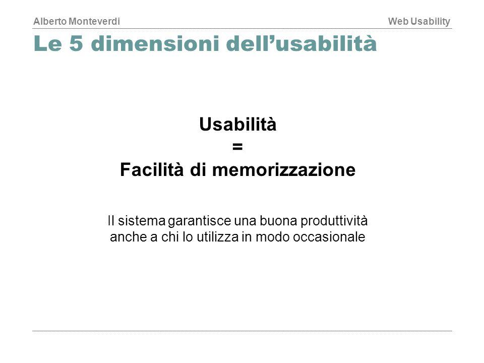 Alberto MonteverdiWeb Usability Le 5 dimensioni dell'usabilità Usabilità = Facilità di memorizzazione Il sistema garantisce una buona produttività anche a chi lo utilizza in modo occasionale