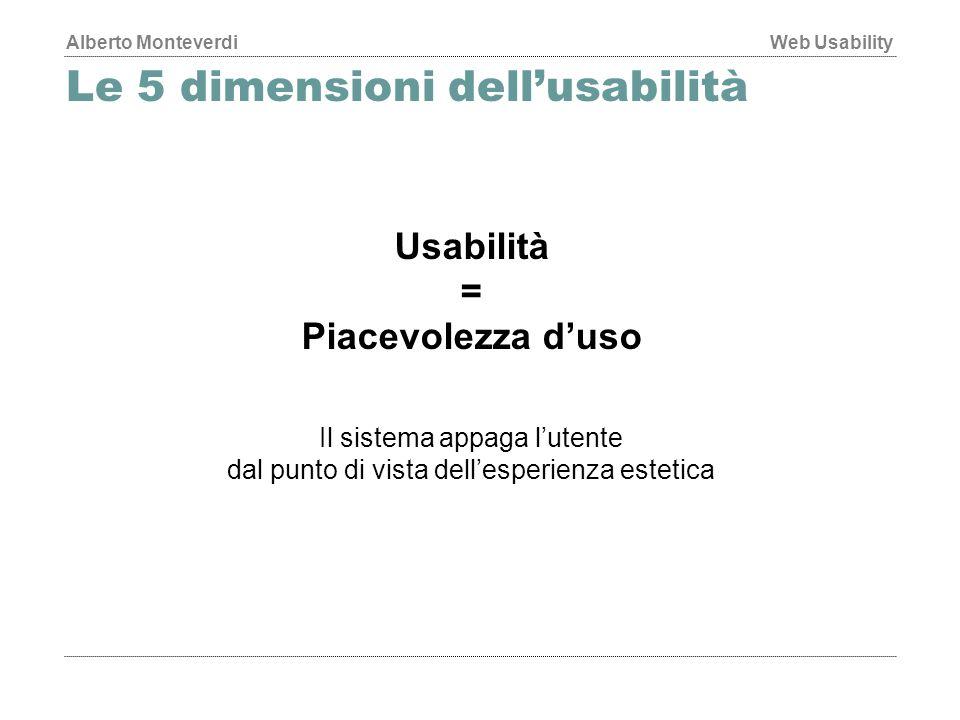 Alberto MonteverdiWeb Usability Le 5 dimensioni dell'usabilità Usabilità = Piacevolezza d'uso Il sistema appaga l'utente dal punto di vista dell'esperienza estetica