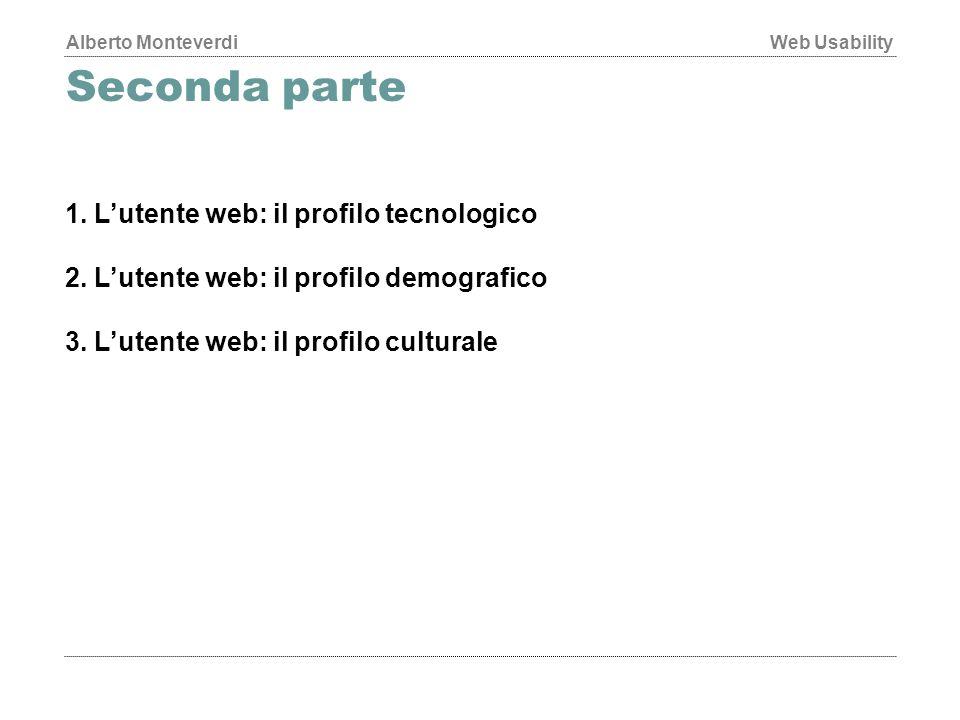 Alberto MonteverdiWeb Usability Seconda parte 1.L'utente web: il profilo tecnologico 2.