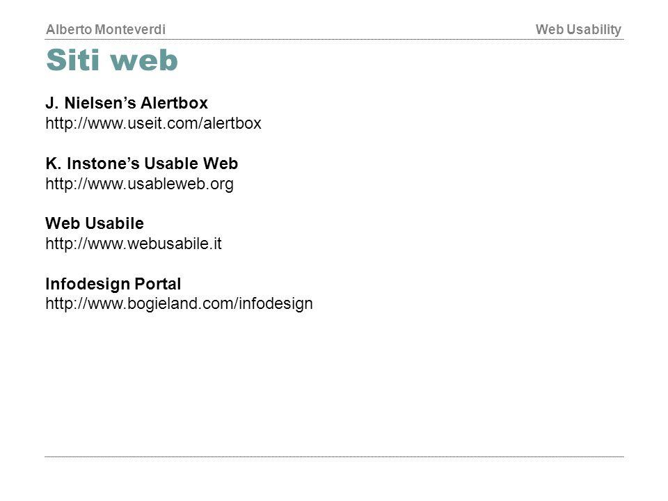 Alberto MonteverdiWeb Usability Siti web J.Nielsen's Alertbox http://www.useit.com/alertbox K.