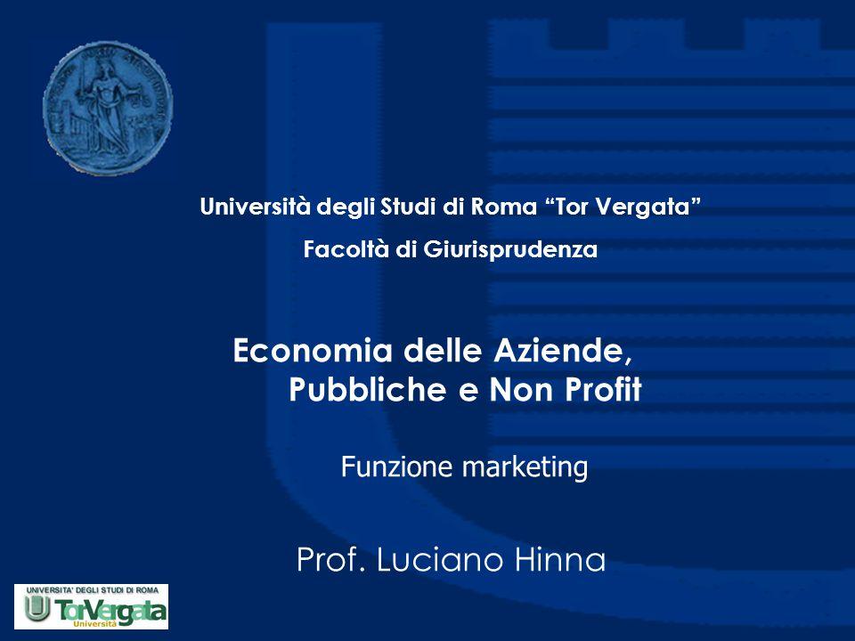 Economia delle Aziende, Pubbliche e Non Profit Funzione marketing Prof.