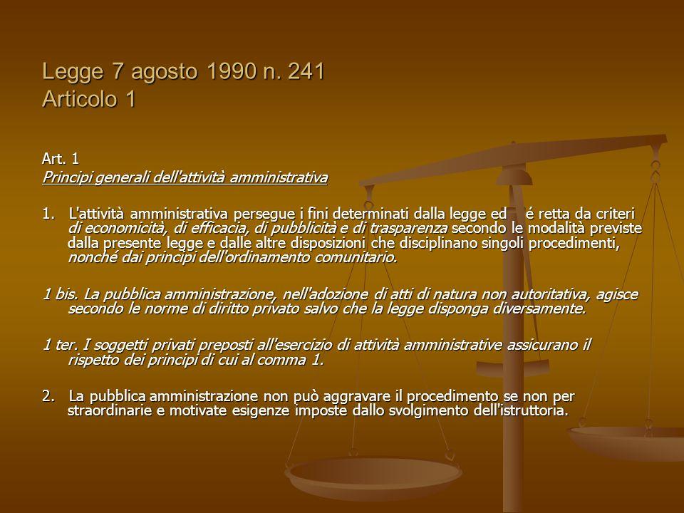 Legge 7 agosto 1990 n. 241 Articolo 1 Art. 1 Principi generali dell'attività amministrativa 1. L'attività amministrativa persegue i fini determinati d