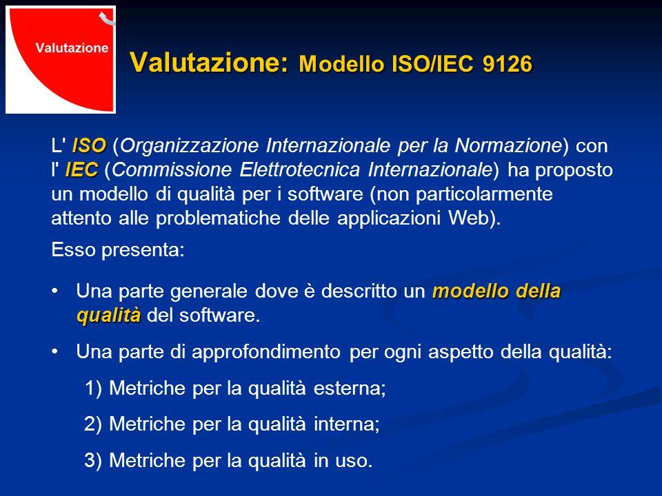 Valutazione: Modello ISO/IEC 9126 ISO L ISO (Organizzazione Internazionale per la Normazione) con IEC l IEC (Commissione Elettrotecnica Internazionale) ha proposto un modello di qualità per i software (non particolarmente attento alle problematiche delle applicazioni Web).
