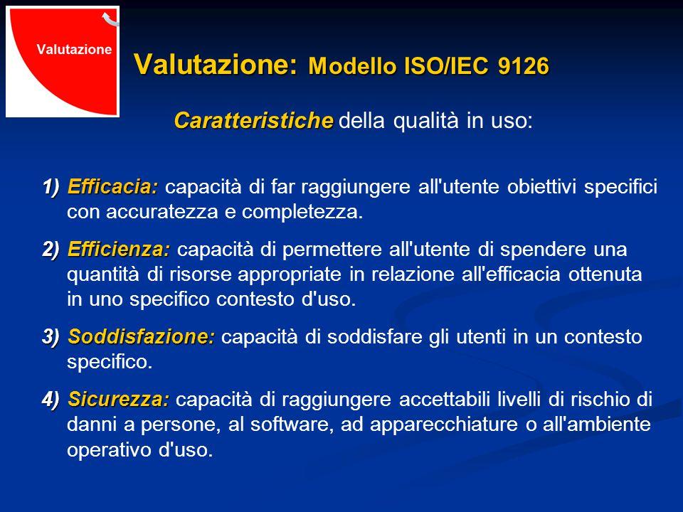 Valutazione: Modello ISO/IEC 9126 Caratteristiche Caratteristiche della qualità in uso: 1)Efficacia: 1)Efficacia: capacità di far raggiungere all utente obiettivi specifici con accuratezza e completezza.