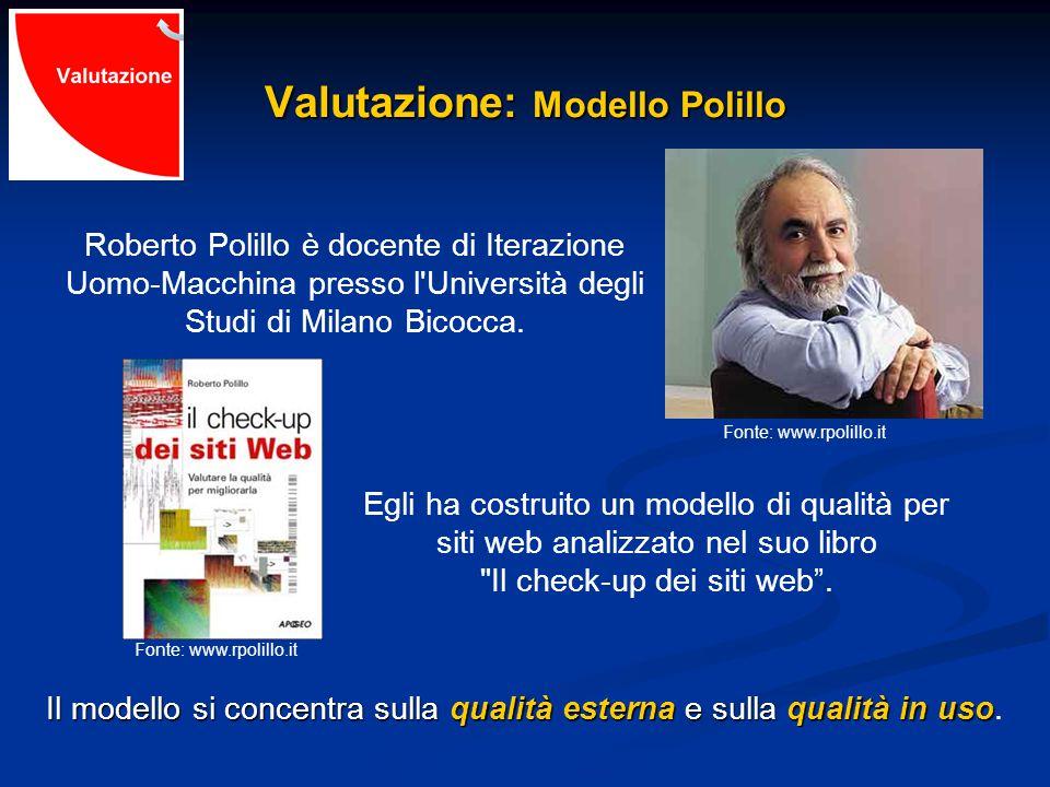 Valutazione: Modello Polillo Roberto Polillo è docente di Iterazione Uomo-Macchina presso l Università degli Studi di Milano Bicocca.