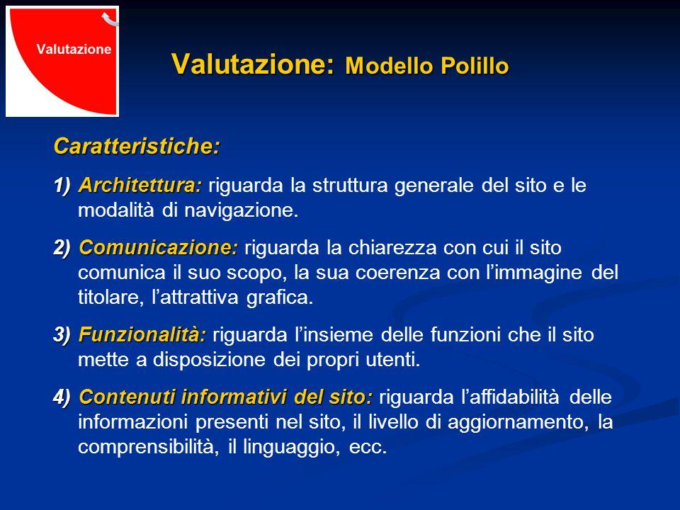 Valutazione: Modello Polillo Caratteristiche: 1)Architettura: 1)Architettura: riguarda la struttura generale del sito e le modalità di navigazione.