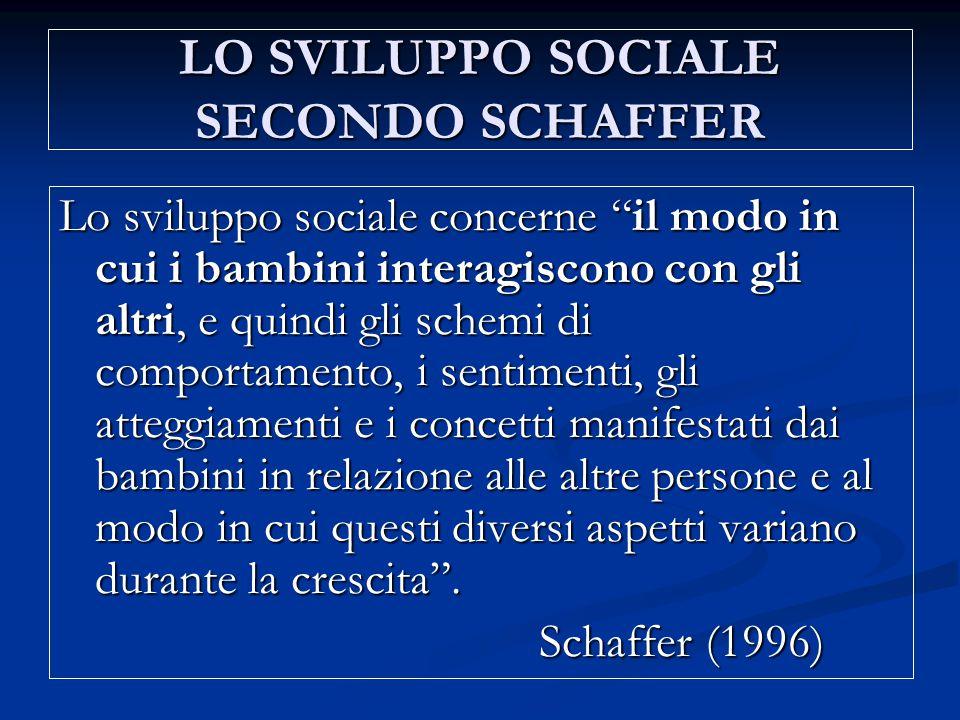"""LO SVILUPPO SOCIALE SECONDO SCHAFFER Lo sviluppo sociale concerne """"il modo in cui i bambini interagiscono con gli altri, e quindi gli schemi di compor"""