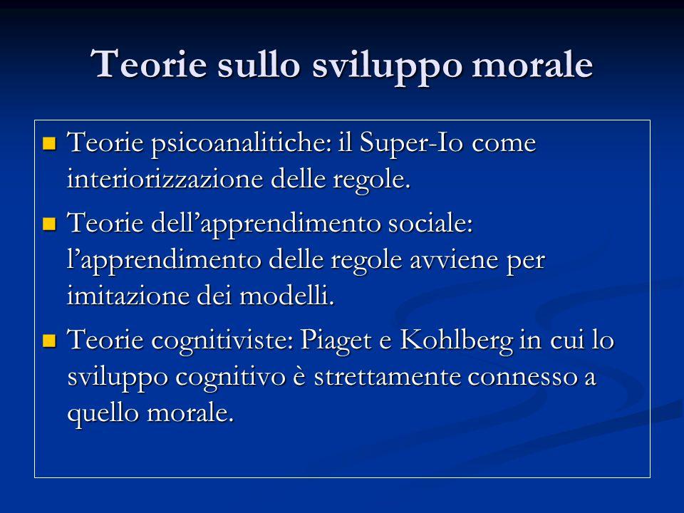 Teorie sullo sviluppo morale Teorie psicoanalitiche: il Super-Io come interiorizzazione delle regole.