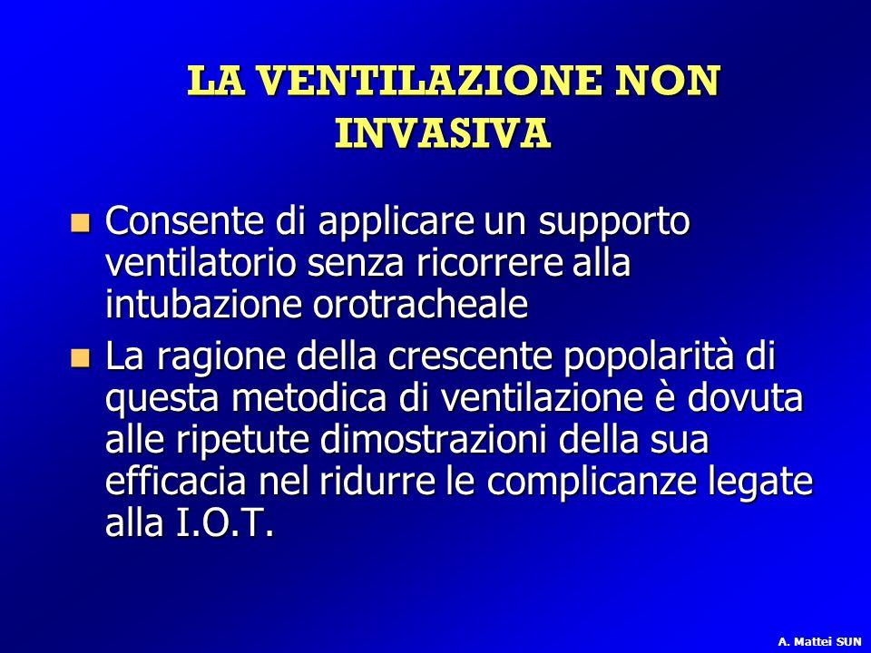 LA VENTILAZIONE NON INVASIVA LA VENTILAZIONE NON INVASIVA Consente di applicare un supporto ventilatorio senza ricorrere alla intubazione orotracheale