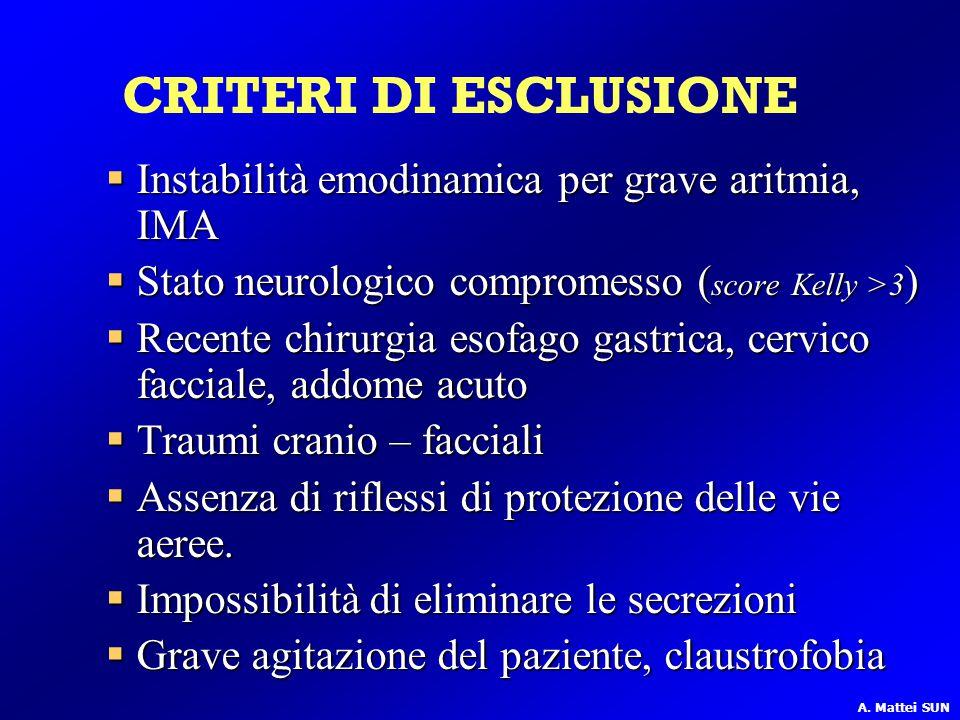  Instabilità emodinamica per grave aritmia, IMA  Stato neurologico compromesso ( score Kelly >3 )  Recente chirurgia esofago gastrica, cervico facc
