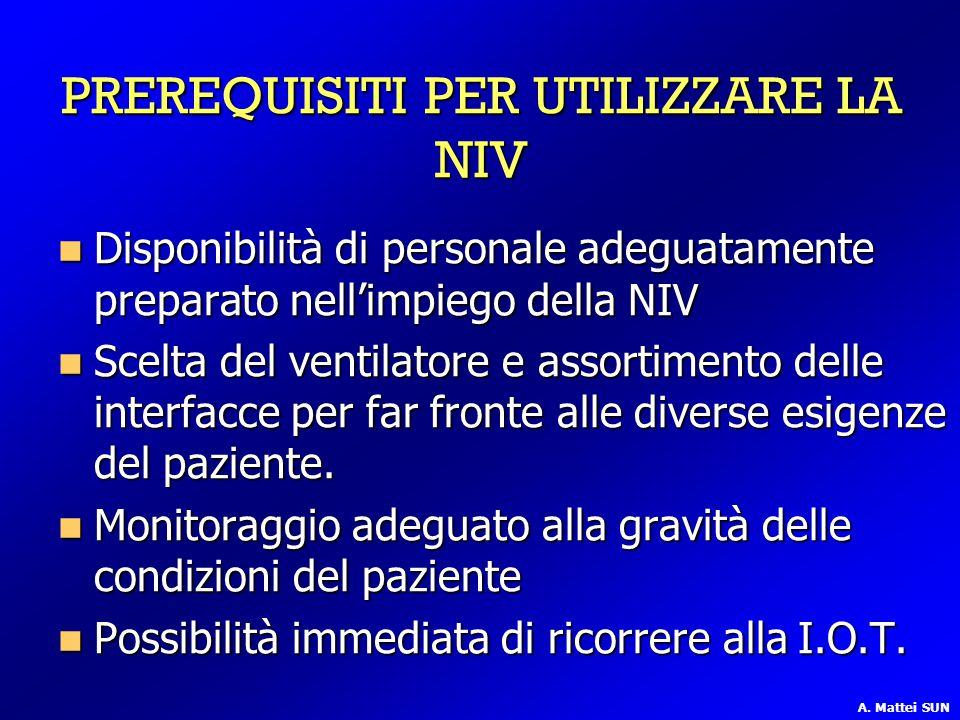 PREREQUISITI PER UTILIZZARE LA NIV Disponibilità di personale adeguatamente preparato nell'impiego della NIV Disponibilità di personale adeguatamente