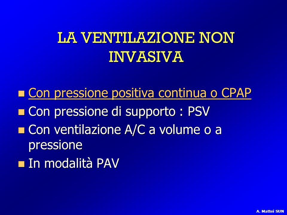LA VENTILAZIONE NON INVASIVA Con pressione positiva continua o CPAP Con pressione positiva continua o CPAP Con pressione positiva continua o CPAP Con