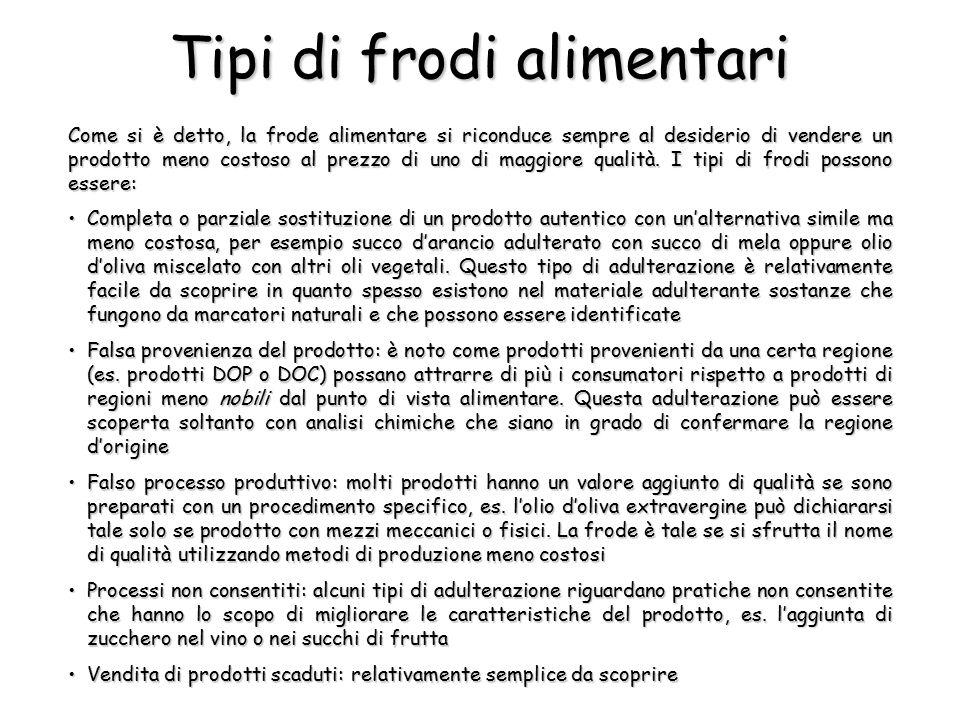 Tipi di frodi alimentari Come si è detto, la frode alimentare si riconduce sempre al desiderio di vendere un prodotto meno costoso al prezzo di uno di maggiore qualità.