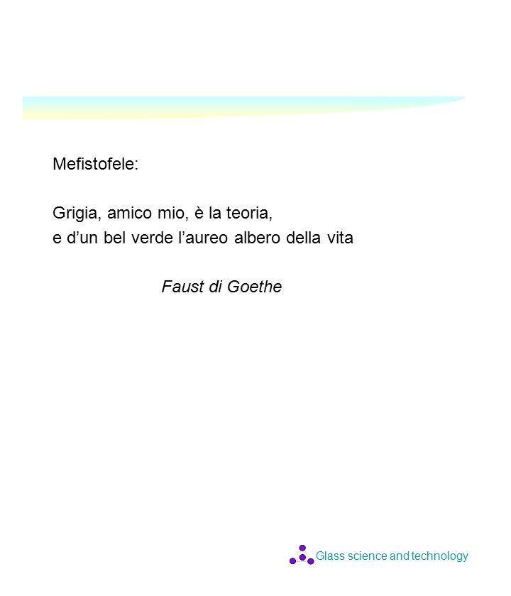 Glass science and technology Mefistofele: Grigia, amico mio, è la teoria, e d'un bel verde l'aureo albero della vita Faust di Goethe