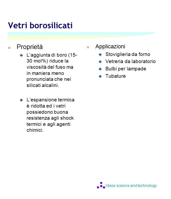 Glass science and technology Vetri borosilicati n Proprietà u L'aggiunta di boro (15- 30 mol%) riduce la viscosità del fuso ma in maniera meno pronunciata che nei silicati alcalini.