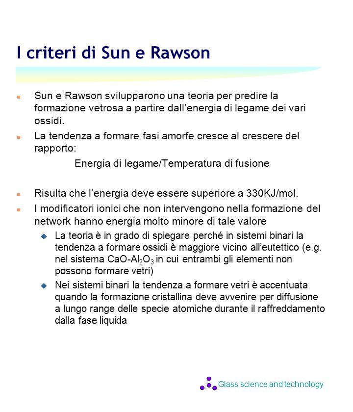 Glass science and technology I criteri di Sun e Rawson n Sun e Rawson svilupparono una teoria per predire la formazione vetrosa a partire dall'energia di legame dei vari ossidi.