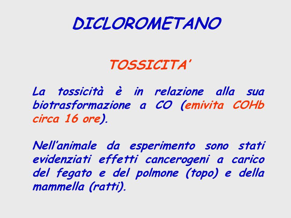 DICLOROMETANO TOSSICITA' La tossicità è in relazione alla sua biotrasformazione a CO (emivita COHb circa 16 ore). Nell'animale da esperimento sono sta