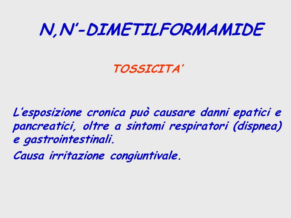 TOSSICITA' L'esposizione cronica può causare danni epatici e pancreatici, oltre a sintomi respiratori (dispnea) e gastrointestinali. Causa irritazione