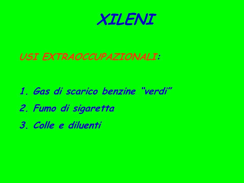 XILENI USI EXTRAOCCUPAZIONALI: 1.Gas di scarico benzine verdi 2.