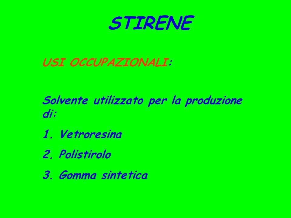 STIRENE USI OCCUPAZIONALI: Solvente utilizzato per la produzione di: 1. Vetroresina 2. Polistirolo 3. Gomma sintetica
