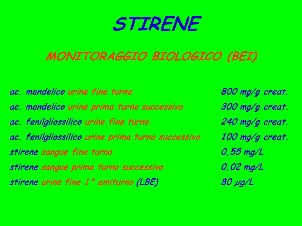 STIRENE MONITORAGGIO BIOLOGICO (BEI) ac. mandelico urine fine turno800 mg/g creat. ac. mandelico urine prima turno successivo300 mg/g creat. ac. fenil