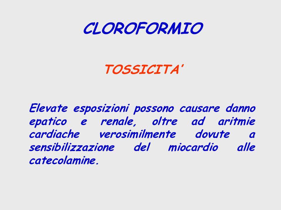 CLOROFORMIO TOSSICITA' Elevate esposizioni possono causare danno epatico e renale, oltre ad aritmie cardiache verosimilmente dovute a sensibilizzazione del miocardio alle catecolamine.