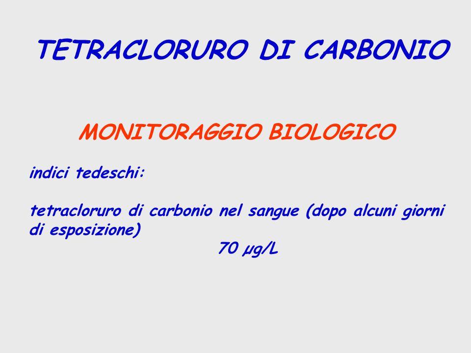 TETRACLORURO DI CARBONIO MONITORAGGIO BIOLOGICO indici tedeschi: tetracloruro di carbonio nel sangue (dopo alcuni giorni di esposizione) 70 µg/L