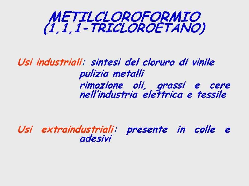Usi industriali: sintesi del cloruro di vinile pulizia metalli rimozione oli, grassi e cere nell'industria elettrica e tessile Usi extraindustriali: p