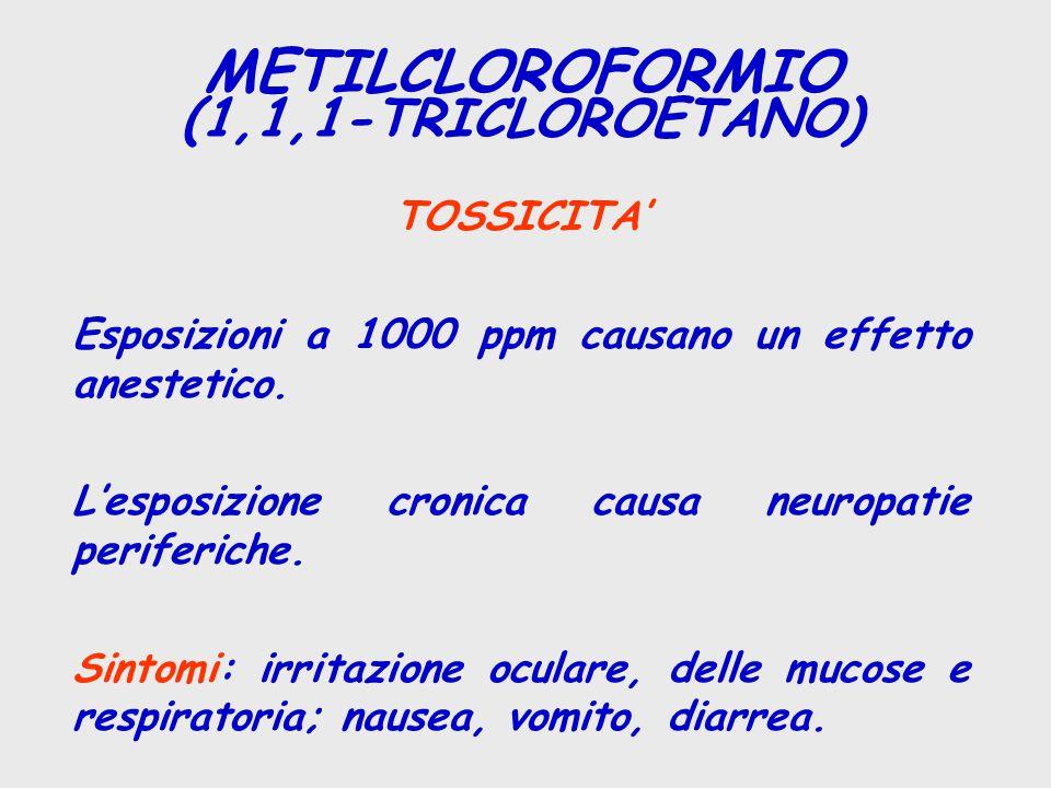 TOSSICITA' Esposizioni a 1000 ppm causano un effetto anestetico. L'esposizione cronica causa neuropatie periferiche. Sintomi: irritazione oculare, del