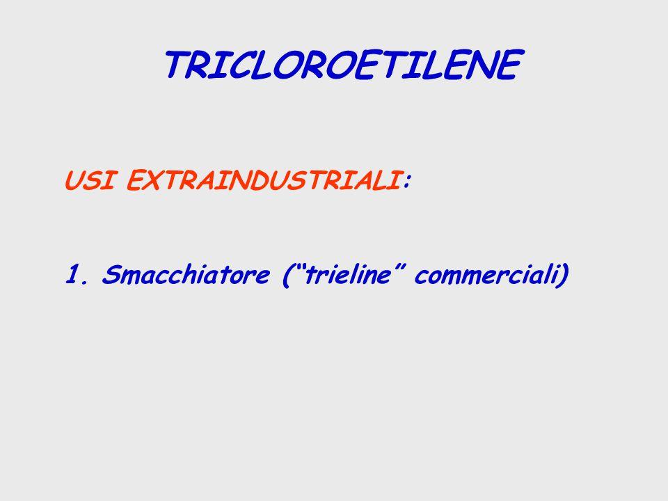 "TRICLOROETILENE USI EXTRAINDUSTRIALI: 1. Smacchiatore (""trieline"" commerciali)"
