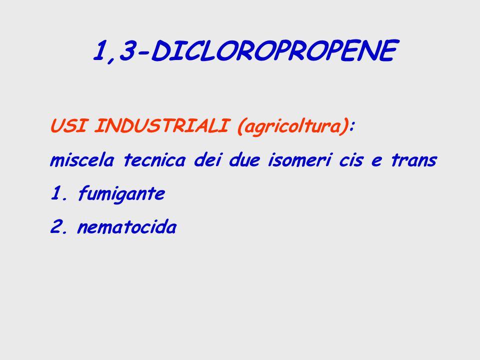 1,3-DICLOROPROPENE USI INDUSTRIALI (agricoltura): miscela tecnica dei due isomeri cis e trans 1. fumigante 2. nematocida