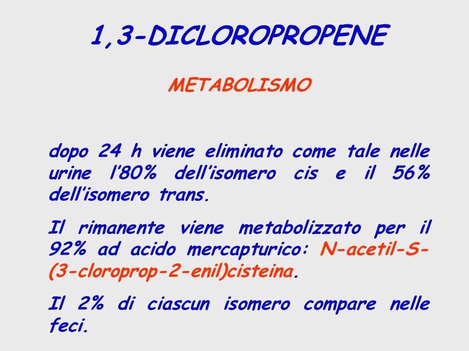 1,3-DICLOROPROPENE METABOLISMO dopo 24 h viene eliminato come tale nelle urine l'80% dell'isomero cis e il 56% dell'isomero trans. Il rimanente viene