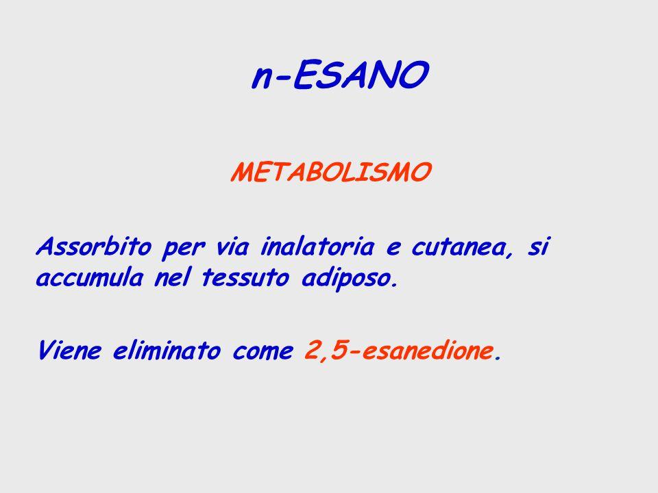 METABOLISMO Assorbito per via inalatoria e cutanea, si accumula nel tessuto adiposo.