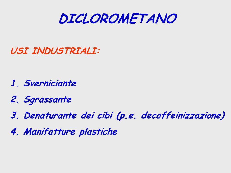 1,2-DICLOROPROPANO USI EXTRAINDUSTRIALI: 1.Smacchiatore ( trieline commerciali) 2.