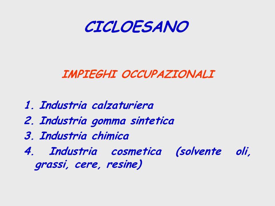 CICLOESANO IMPIEGHI OCCUPAZIONALI 1. Industria calzaturiera 2. Industria gomma sintetica 3. Industria chimica 4. Industria cosmetica (solvente oli, gr