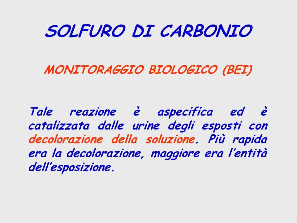 SOLFURO DI CARBONIO MONITORAGGIO BIOLOGICO (BEI) Tale reazione è aspecifica ed è catalizzata dalle urine degli esposti con decolorazione della soluzione.