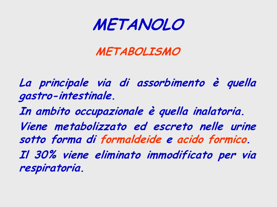 METABOLISMO La principale via di assorbimento è quella gastro-intestinale. In ambito occupazionale è quella inalatoria. Viene metabolizzato ed escreto