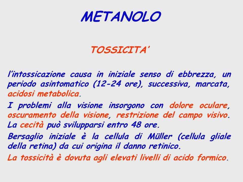TOSSICITA' l'intossicazione causa in iniziale senso di ebbrezza, un periodo asintomatico (12-24 ore), successiva, marcata, acidosi metabolica.