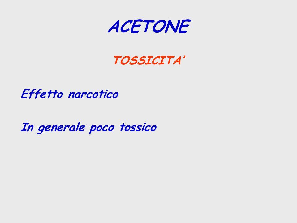 TOSSICITA' Effetto narcotico In generale poco tossico ACETONE