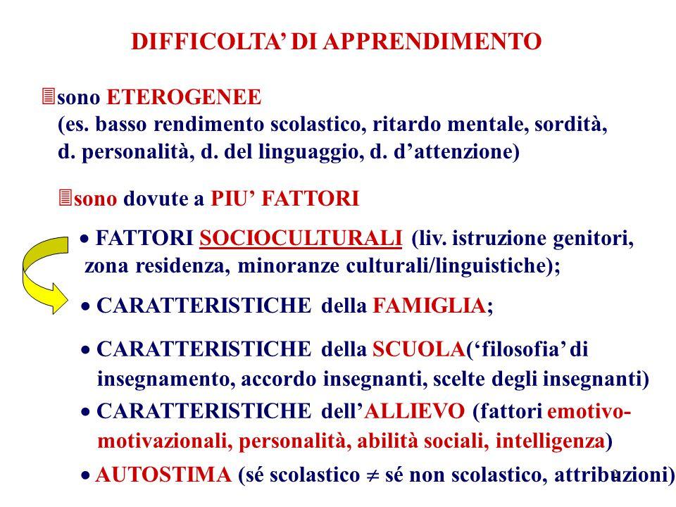 2 DIFFICOLTA' DI APPRENDIMENTO  sono ETEROGENEE (es.