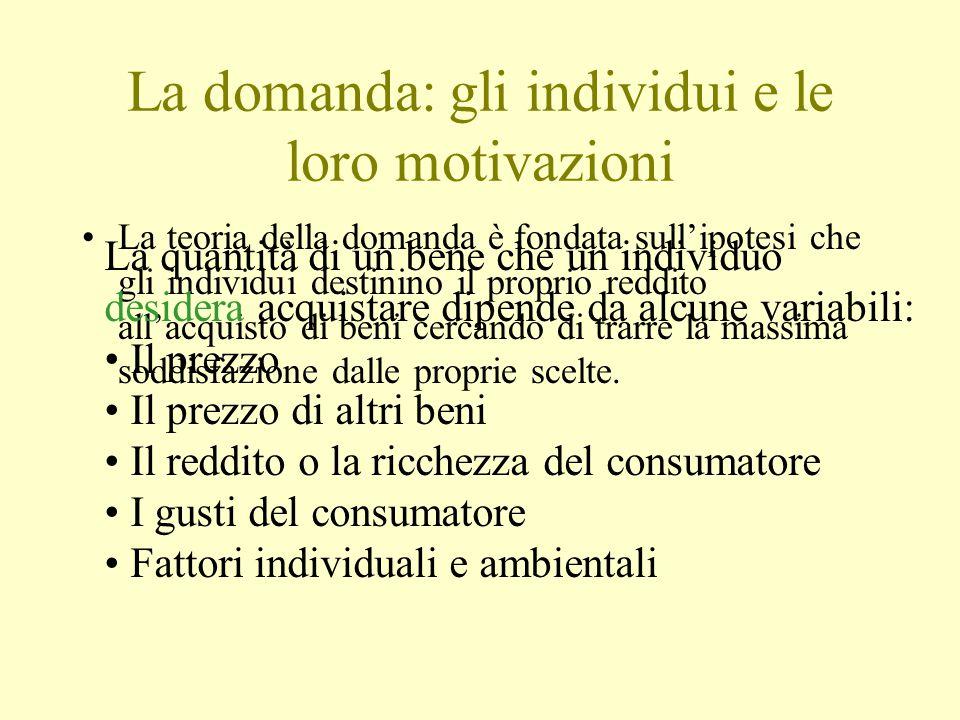 La domanda: gli individui e le loro motivazioni La teoria della domanda è fondata sull'ipotesi che gli individui destinino il proprio reddito all'acqu