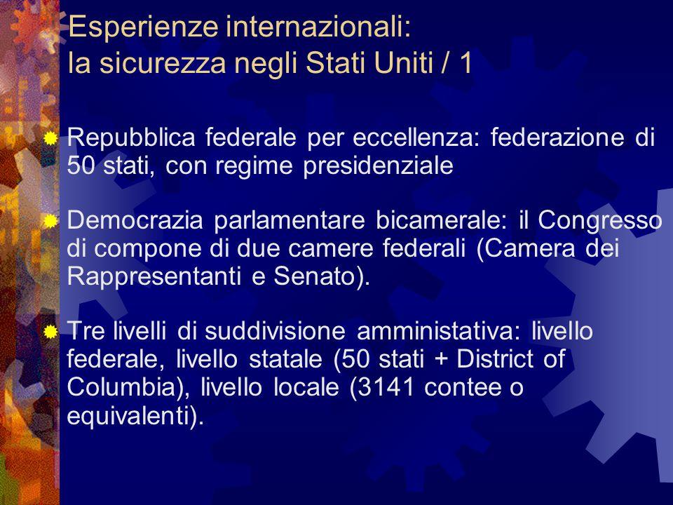 Esperienze internazionali: la sicurezza negli Stati Uniti / 1  Repubblica federale per eccellenza: federazione di 50 stati, con regime presidenziale