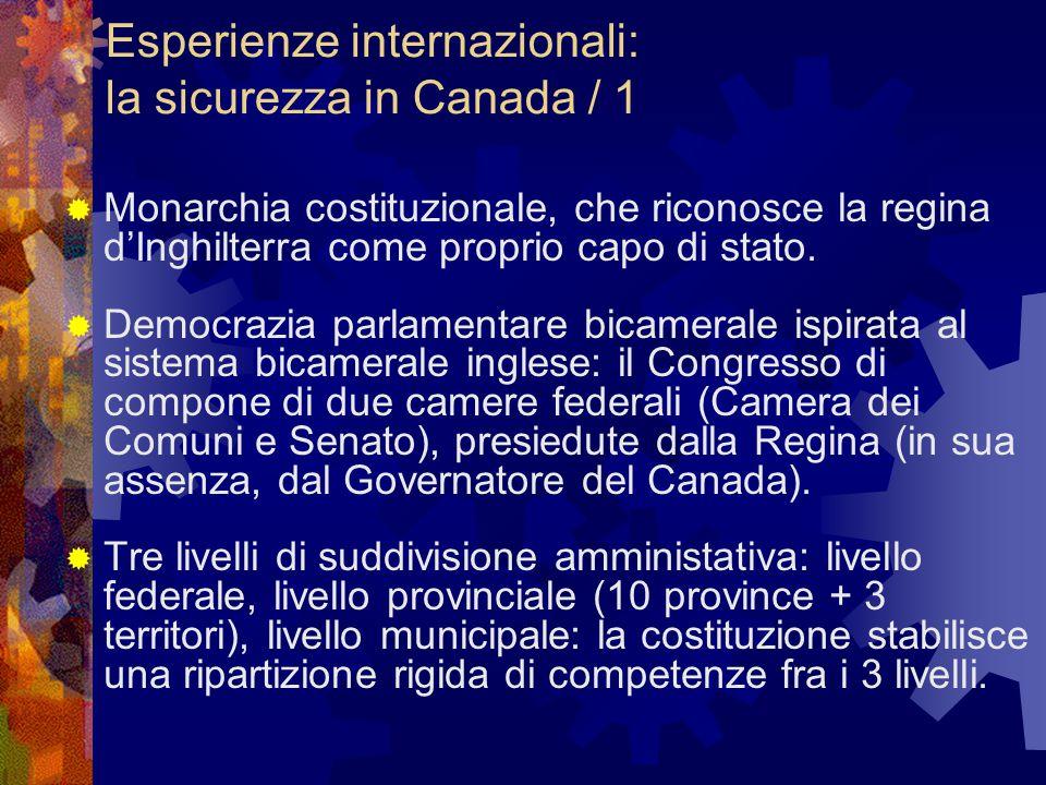 Esperienze internazionali: la sicurezza in Canada / 1  Monarchia costituzionale, che riconosce la regina d'Inghilterra come proprio capo di stato.